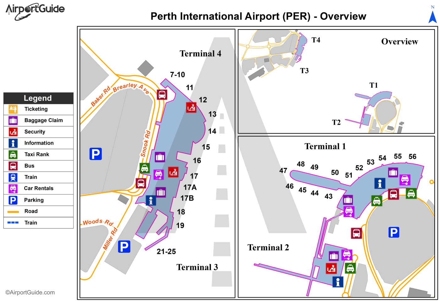 Map Perth International Airport Perth   Perth International (PER) Airport Terminal Maps