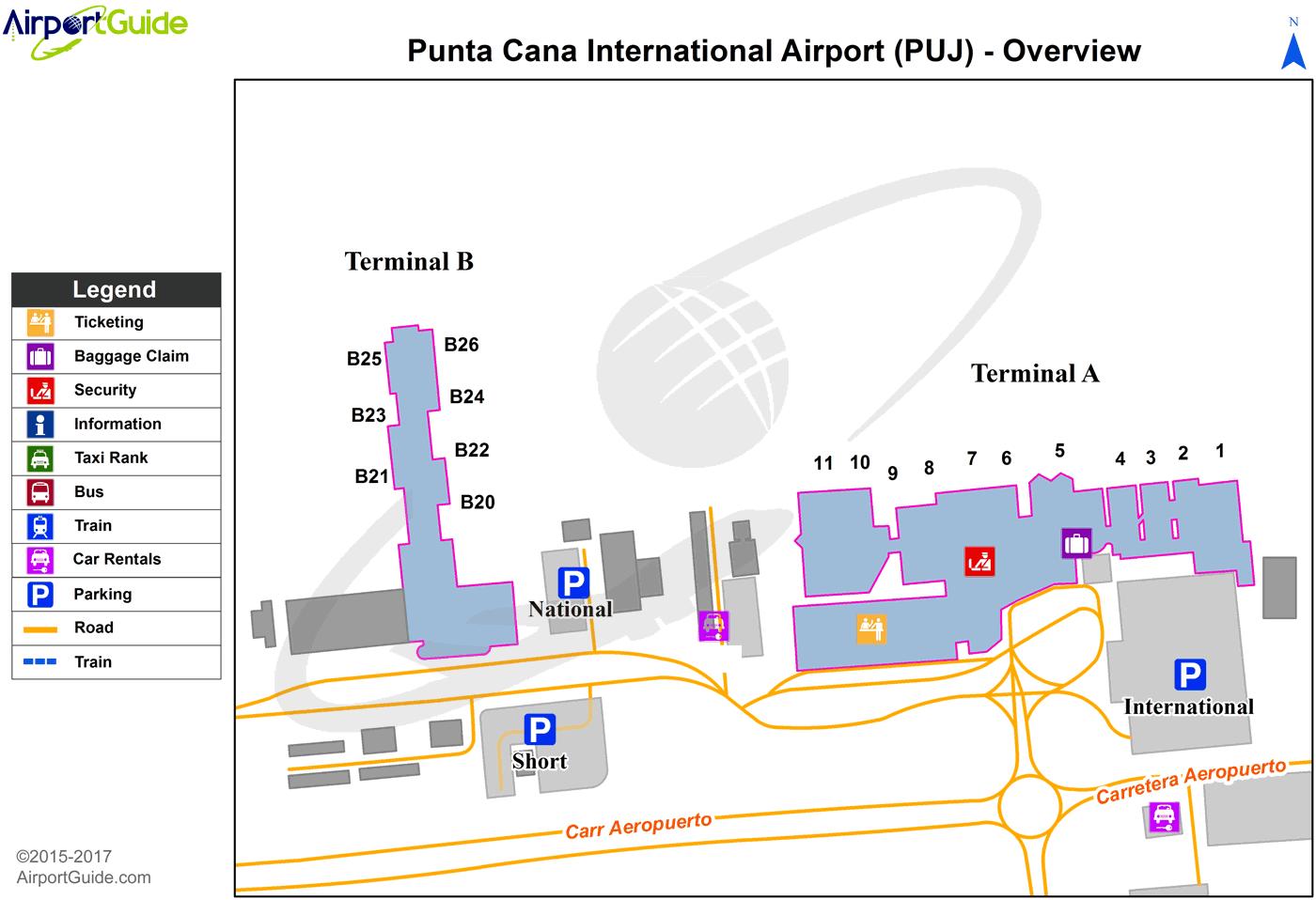 Punta Cana - Punta Cana International (PUJ) Airport Terminal Maps ...