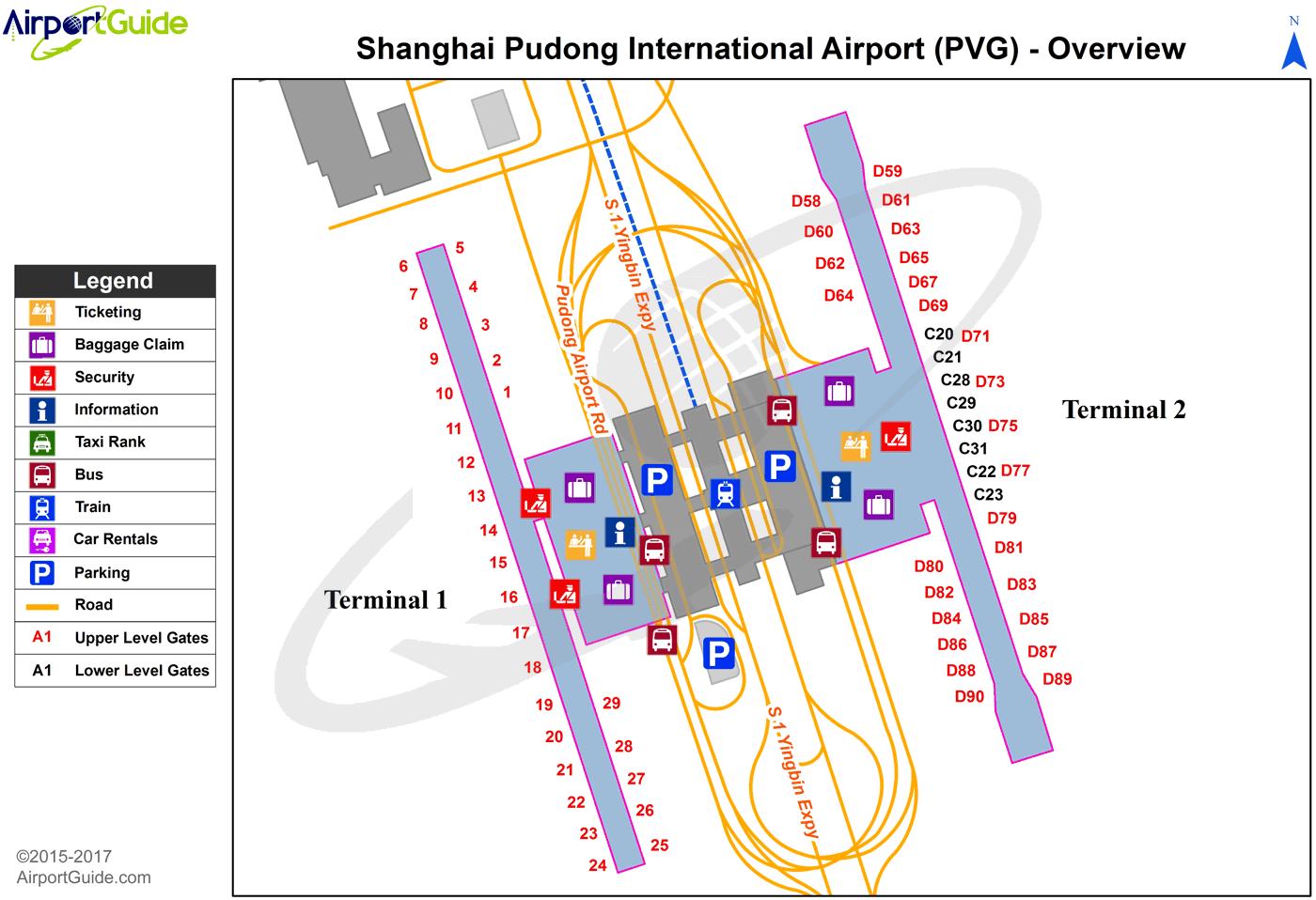 Shanghai Shanghai Pudong International PVG Airport Terminal Maps