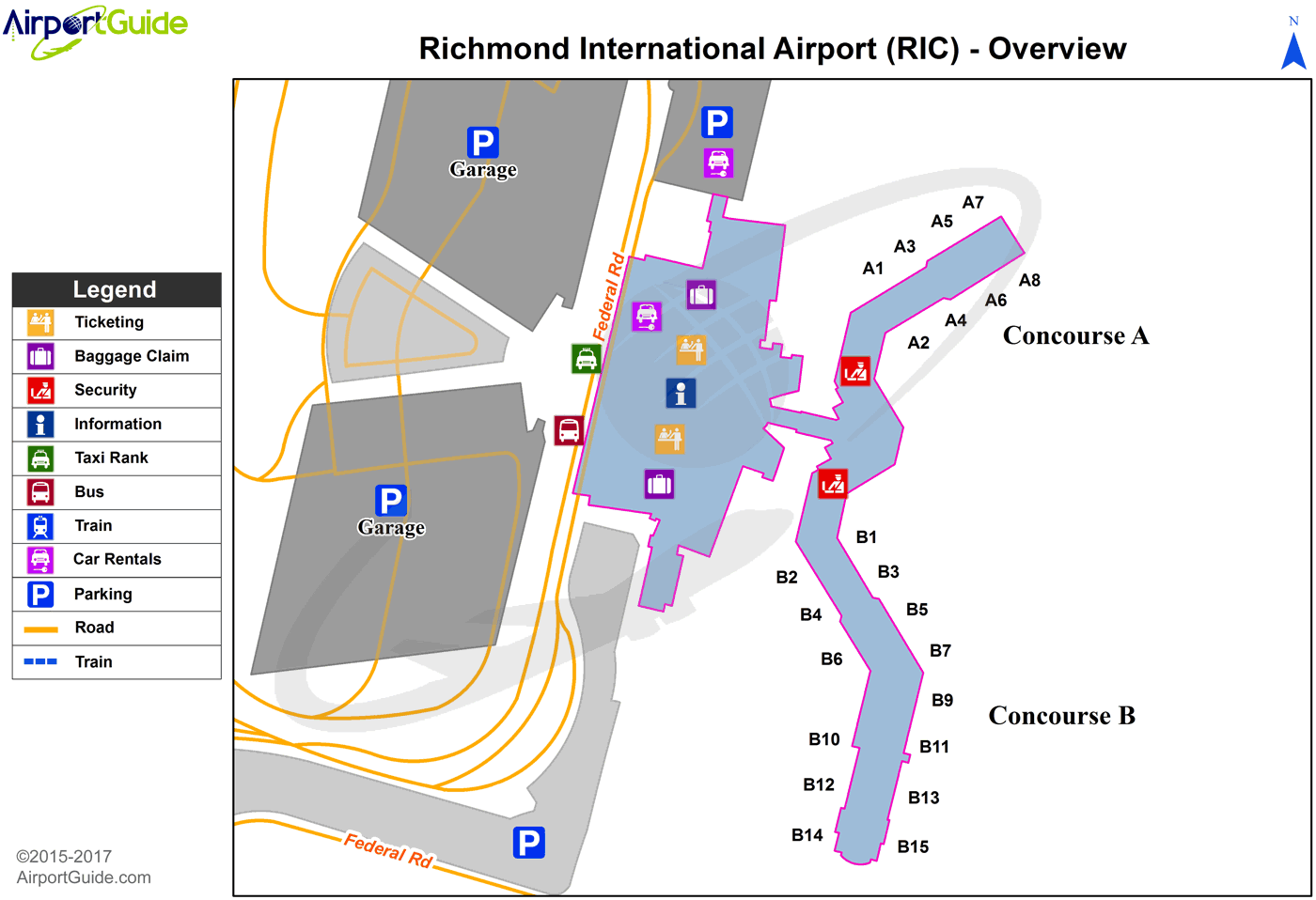 Richmond Va Airport Map Richmond   Richmond International (RIC) Airport Terminal Maps  Richmond Va Airport Map