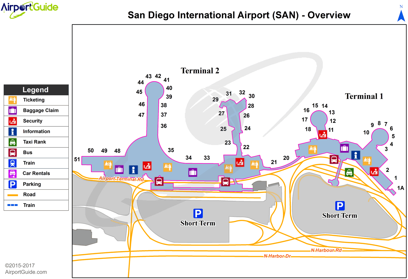 San Diego Airport Terminal Map San Diego   San Diego International (SAN) Airport Terminal Maps