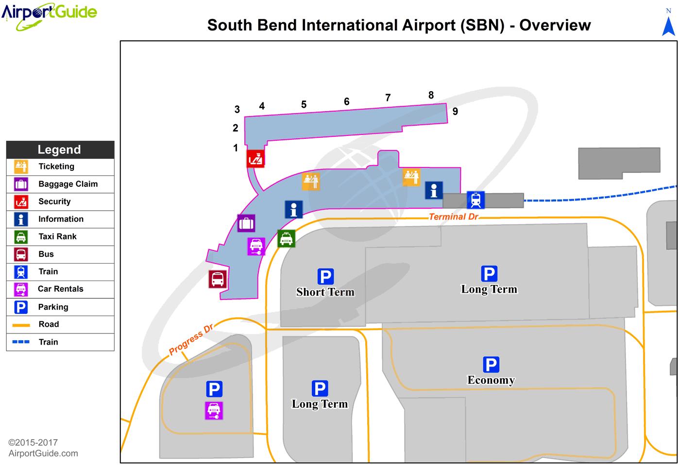 South Bend South Bend International SBN Airport Terminal Maps