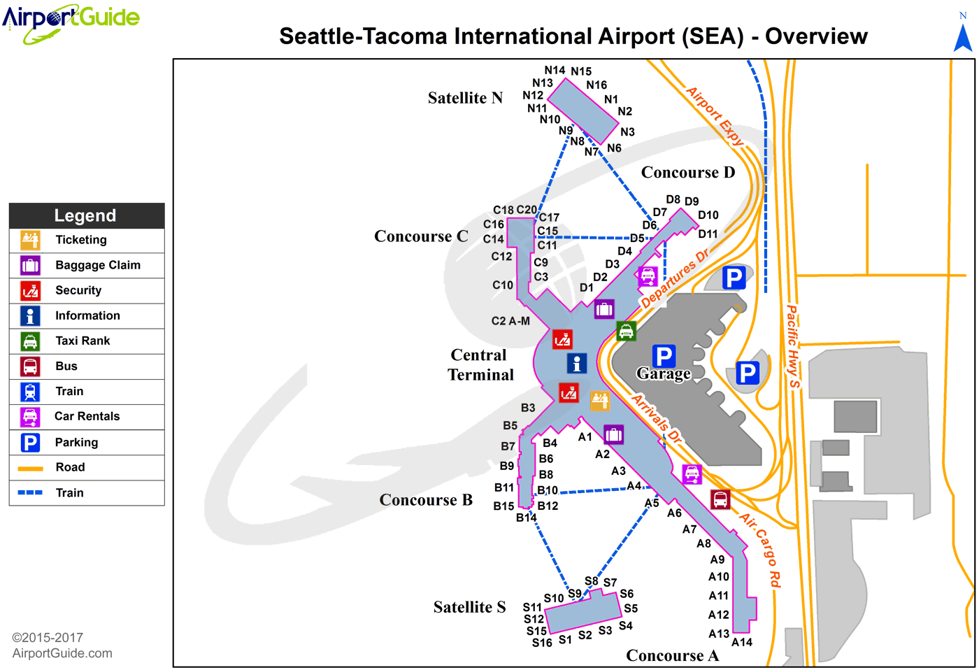 Seattle  SeattleTacoma International SEA Airport Terminal Maps