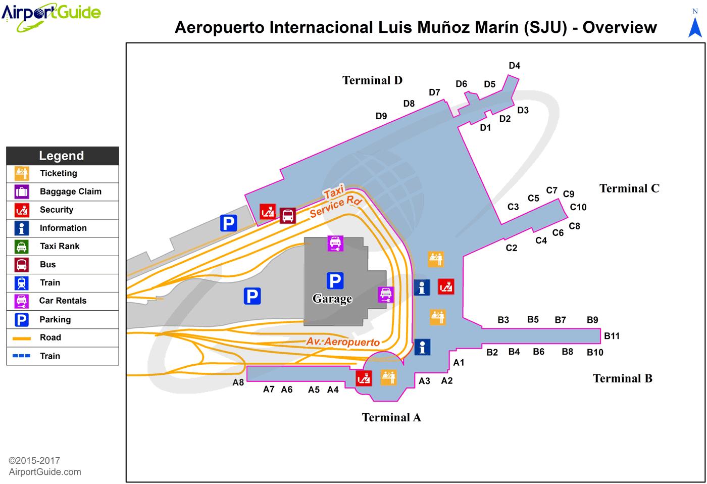 San Juan Airport Terminal Map San Juan   Luis Munoz Marin International (SJU) Airport Terminal