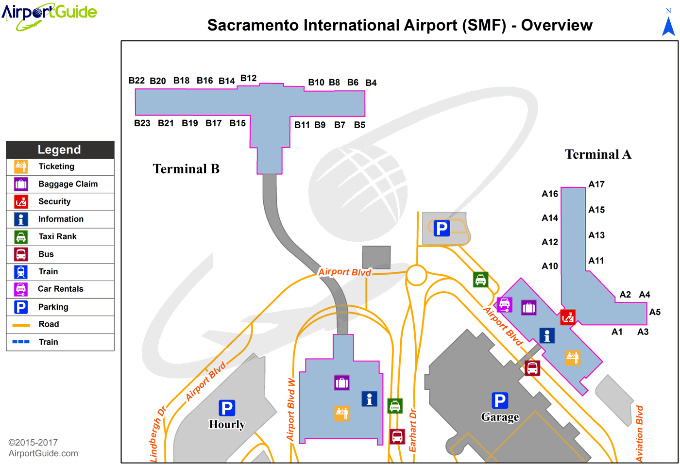 Sacramento Airport Map Sacramento   Sacramento International (SMF) Airport Terminal Maps