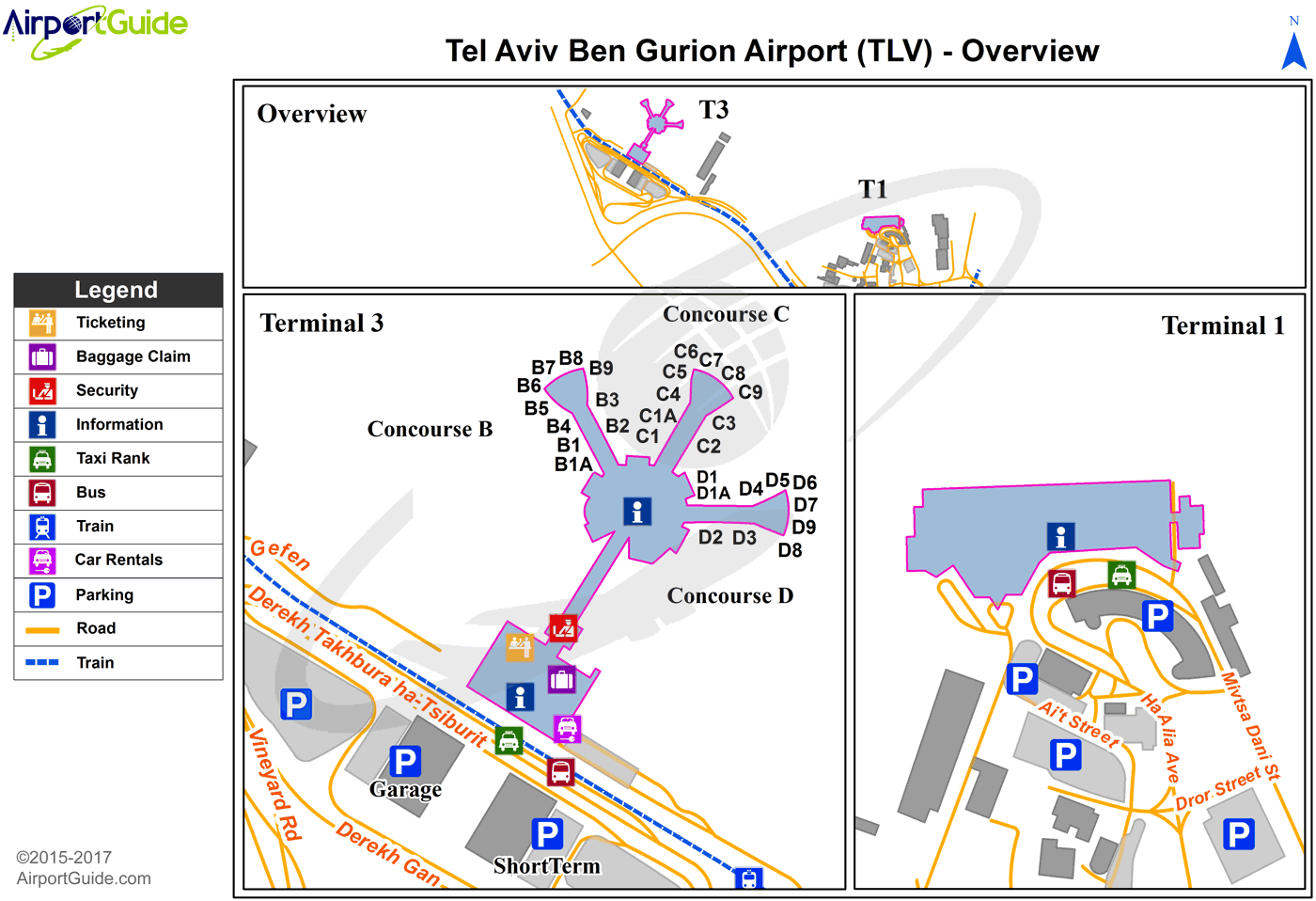 Tel AvivYafo Ben Gurion International TLV Airport Terminal Maps