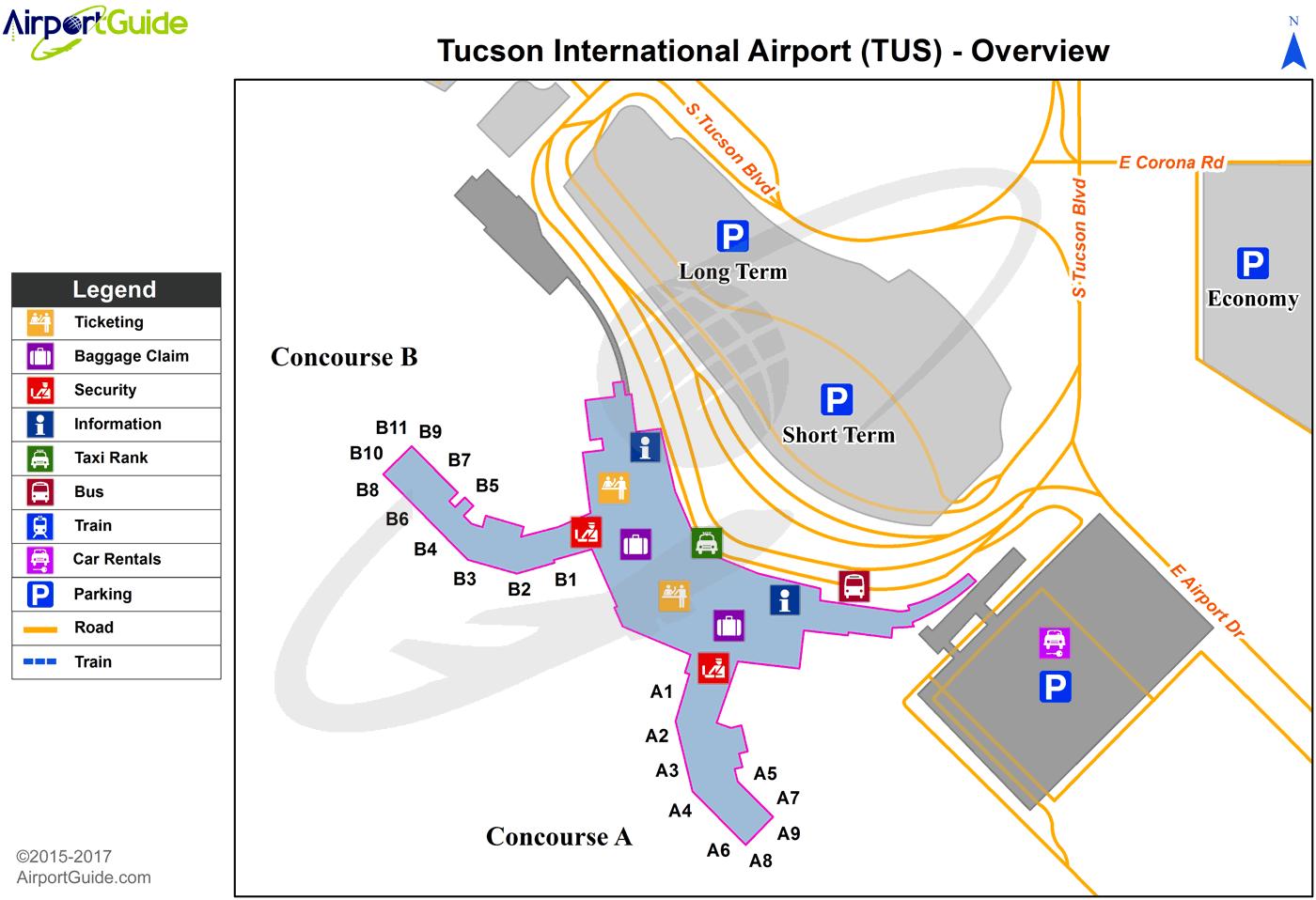 Tucson Tucson International Tus Airport Terminal Maps