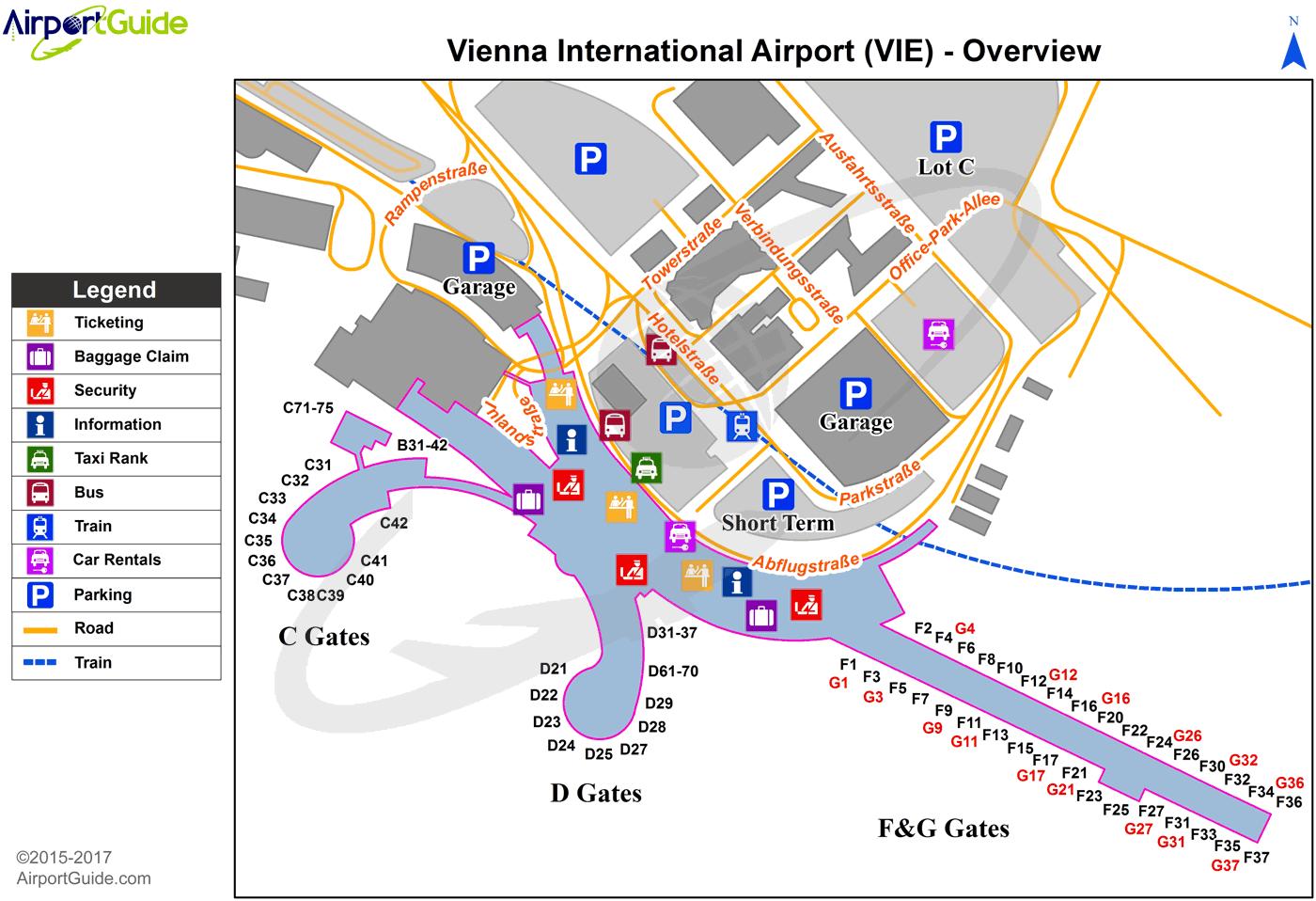 Vienna Vienna International VIE Airport Terminal Maps